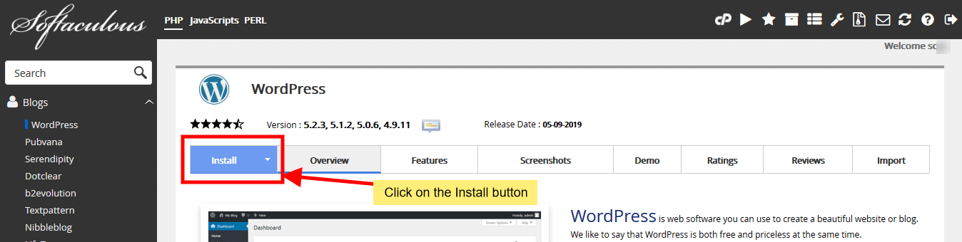 install WordPress with One-click installer